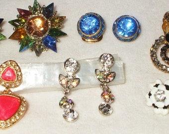 6 pair Vintage clip Rhinestone earrings