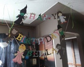 Wizard of Oz Birthday banner, Dorothy, Wicked Witch, Tinman, Lion, Scarecrow, Glinda