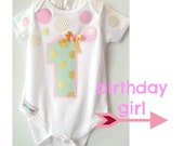 Baby Girl 1st Birthday Confetti  Onesie Pink, Mint and Gold Number 1