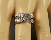 1940s Diamond Wedding Ring Set .25Ctw WG YG 14K 4.5gm Size 6 Vintage Bridal Rings