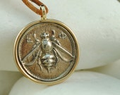 Ancient Greek Coin Pendant, Ephesus, Goddess Artemis, Bee, Stag and Palm Tree - Solid 14K Yellow Gold and Solid Sterling Silver