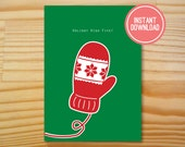 Holiday High Five Printable Christmas Card - 5x7 - INSTANT DOWNLOAD
