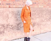 vintage burnt orange two piece pocket zipper retro dress and jacket