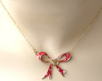 Bow jewelry. Red polka dot bow. Necklace for girlfriend. Beautiful necklace. Forget me knot.