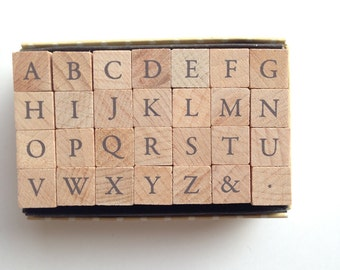 alphabet rubber stamp set. uppercase letter stamp. wood mounted stamp. japanese design. card making scrapbooking clay stamping. large. no 6