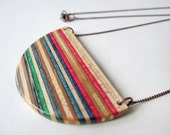 HALF CIRCLE recycled skateboard jewelry // unique, geometric, wood jewelry, jewellery, copper chain, striped, red, green, blue, spring, art