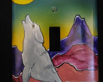 Switchplate Handpainted  decorative art piece  southwest coyote howling at moon wall decor