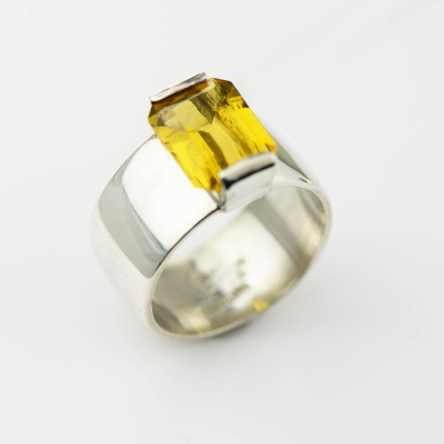 sterling silver citrine wide band ring citrine ring citrine