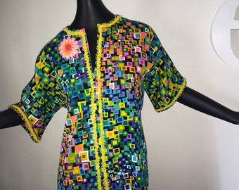 Vintage 60s 70s Hawaiian Maxi Dress Hippie Boho Geometric Space Age Atomic Print Tapa Cloth Barkcloth Tiki Bar Beach Pool Swimsuit Cover Up