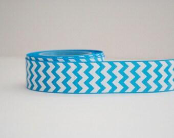 Bright Blue Chevron Print 7/8in Grosgrain Ribbon - 1yd