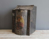 Large Antique Victorian Toleware Tole Painted Tin Tea Bin Country General Store