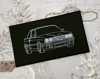 BMW 3 Series E30 325 320 Illustration Classic Car Wooden Hanging Sign Plaque Hand Painted Gift