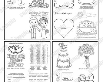 mini printable personalized wedding coloring activity book favor kids 425 x 55 pdf or jpeg template - Kids Wedding Coloring Book
