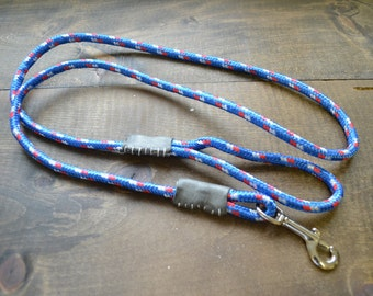Grey Leather and Blue Dog Rope Leash