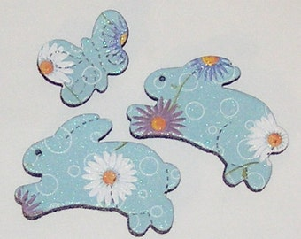 2 Bunny Daisy Flower Magnets with Mini Butterfly