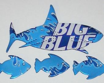 1 SHARK, 3 FISH Magnets - Big Blue Soda Can