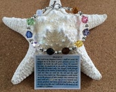 PSALM 23 SWAROVSKI Round Crystal Bracelet - Sterling Silver - Inspirational - Spiritual - Easter - Baptism - Toggle Closure - USA Made
