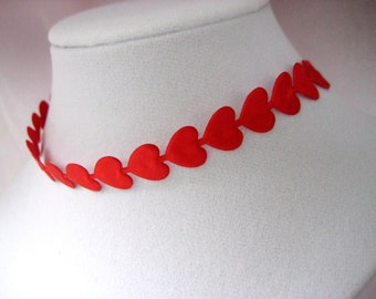 Red Satin Puffy Heart Ribbon Trim, Valentine trim for Crafting, Card Making, Embellishment, Scrapbooking, 1/2 inch wide