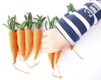 Crochet stuffed carrot toy handmade in crochet - crocheted vegetable root pretend play food (1 pc)