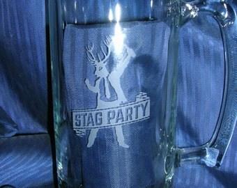Etched glass mug, groomsman mug, beer mug, engraved glass mug, wedding glass, anniversary glass, custom glass mug, personalized glass mug