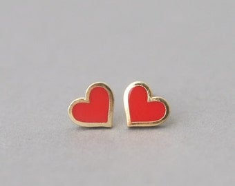 Tiny Red Heart Earrings Studs Gold - Red Heart Jewelry, Silver Post Earring, Red Heart Stud, valentine earrings, Valentine's Day Gift Ideas