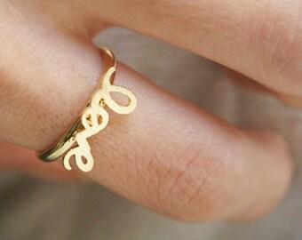 Gold Love Script Ring - gold love ring, gold love word ring