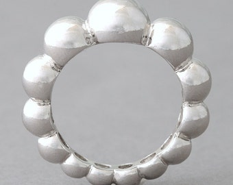 Sterling Silver Perlee Volume Eternity Ring WHite Gold
