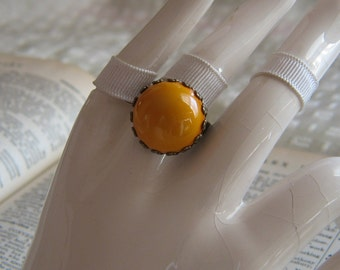 Vintage Goldenrod Plastic Cabochon Adjustable Antiqued Brass Ring