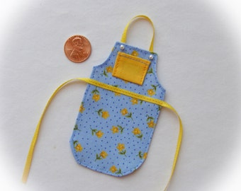Miniature apron for dollhouse, French blue and yellow 1:12 scale