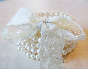 Pearl Bridal Jewelry Pearl Cuff Bracelet Romantic Wedding Jewelry Vintage Style Wedding Bracelet Ivory Pearl Bridal Bracelet Something Blue