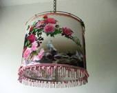 Large drum shape Lovebirds image , lots of flowers, butterfly and baby  pink pom pom in a 3-dimensions children lampshade room lighting .