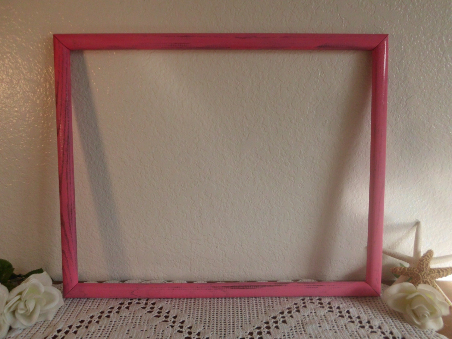 large pink frame 16 x 20 picture photo shabby chic distressed. Black Bedroom Furniture Sets. Home Design Ideas