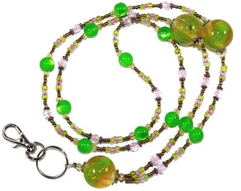 Lan10056 Green Beaded Badge Holder Lanyard