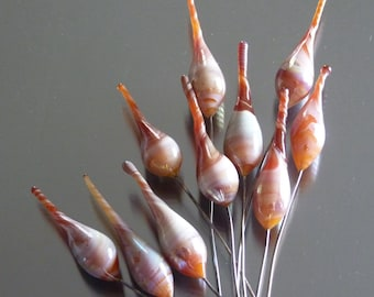 Handmade lampwork borosilicate glass headpins by FireForgedStudio jewelry supplies