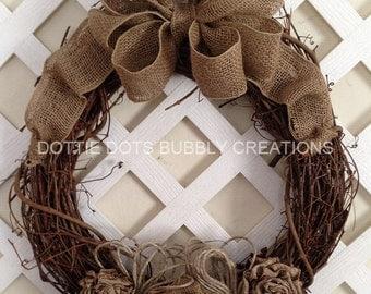 Burlap Rose Grapevine Rustic Wedding Wreath (SOLD)