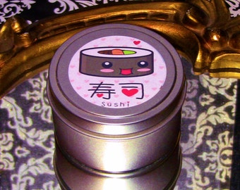 Sushi Jasmine Scented Soy Candle 6 ounce Tin Kawaii Cute Kawai Unique Rare Gift