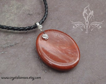 Red Jasper Worry Stone Sterling Silver Pendant (WRP0016)