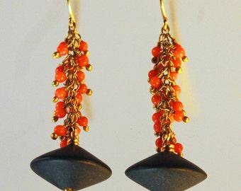 14K Gold Fill, Onyx, & Coral Earrings