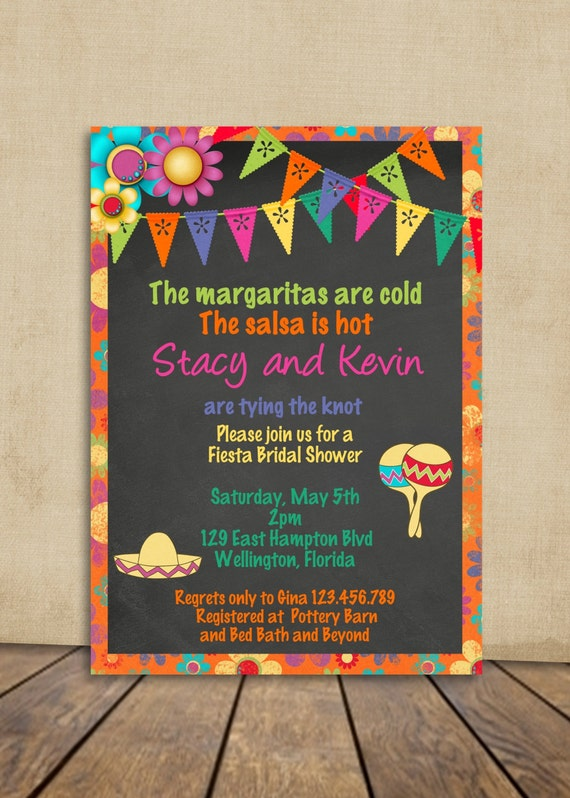 Mexican Fiesta Bridal Shower Invitation - Chalkboard and Bright colors Wedding Shower Custom Invite