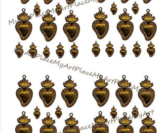 Collage Sheets Hearts, Clip Art Hearts, Digital Download Heart, Miniature Hearts, Milagros, Corazones, Mexican Art, Shrines, Embellishments