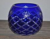 Vintage cobalt blue cut glass rose bowl style candle votive holder