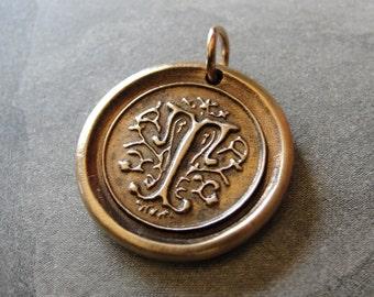 wax seal charm initial T