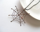 Copper wire pendant, artistic jewelry, pink beaded jewelry, gift for her, statement necklace, funky jewelry, bohemian jewelry, Spider web