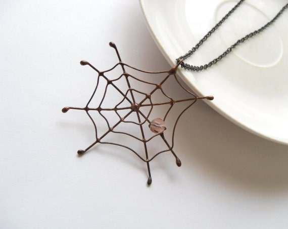 Copper wire pendant, artistic jewelry, pink beaded jewelry, christmas gift, statement funky jewelry, contemporary pendant, Spider web