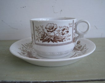 1800s victorian johnson brothers antique sylvan brown transferware ironstone cup and saucer