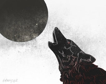Fantasy, Wolf, Full Moon, Werewolf Illustration Print by Alicia VanNoy Call, Free Shipping