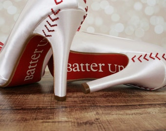 Baseball Wedding Shoes -- Ivory Baseball Themed Wedding Shoes with Pinstripe Bow on the Toe