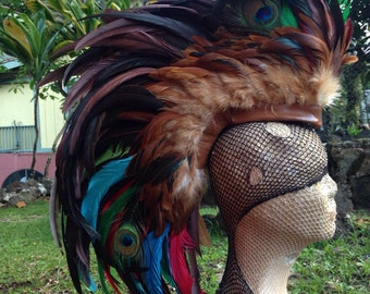 "Customizable Feather Mohawk / Headdress - ""The Mayan"""