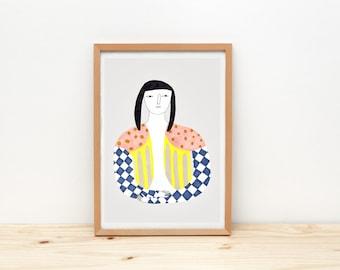 Discreet woman - print - 8 x 11.5 - A4 - by Depeapa
