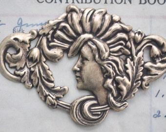 Art Nouveau Lady Centerpiece, Brass Ox